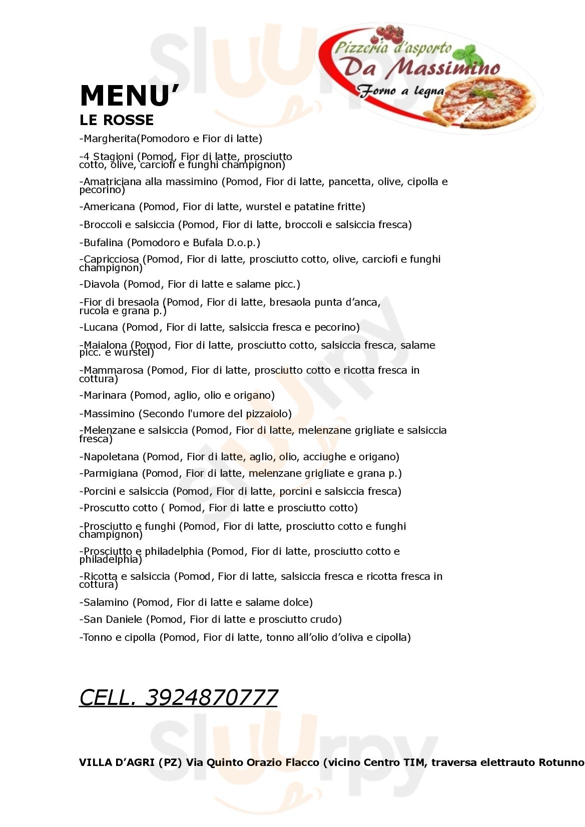 Pizzeria D'asporto Da Massimino Marsicovetere menù 1 pagina