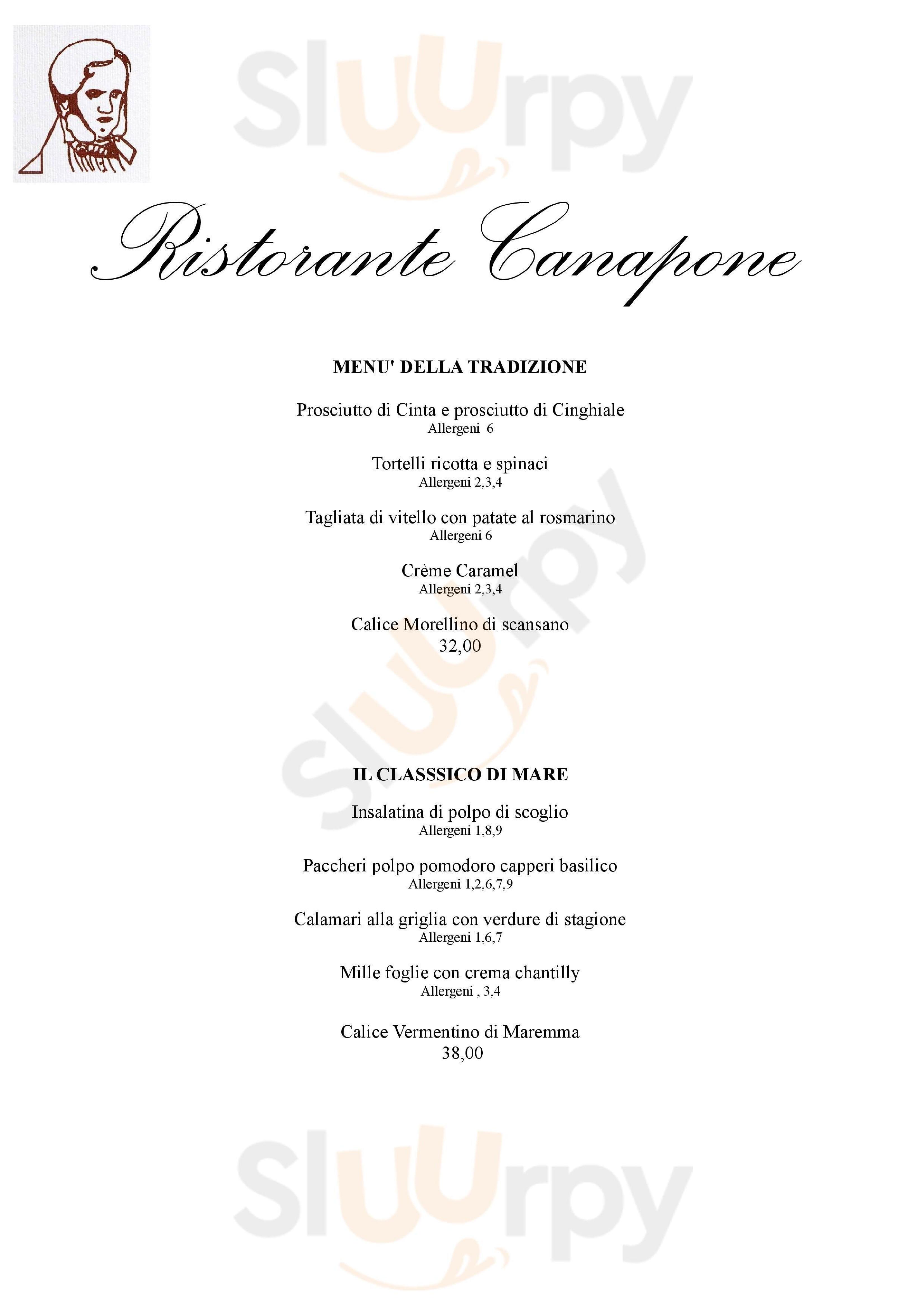 CANAPONE Grosseto menù 1 pagina