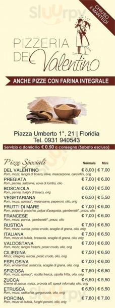 Menu Pizzeria Del Valentino