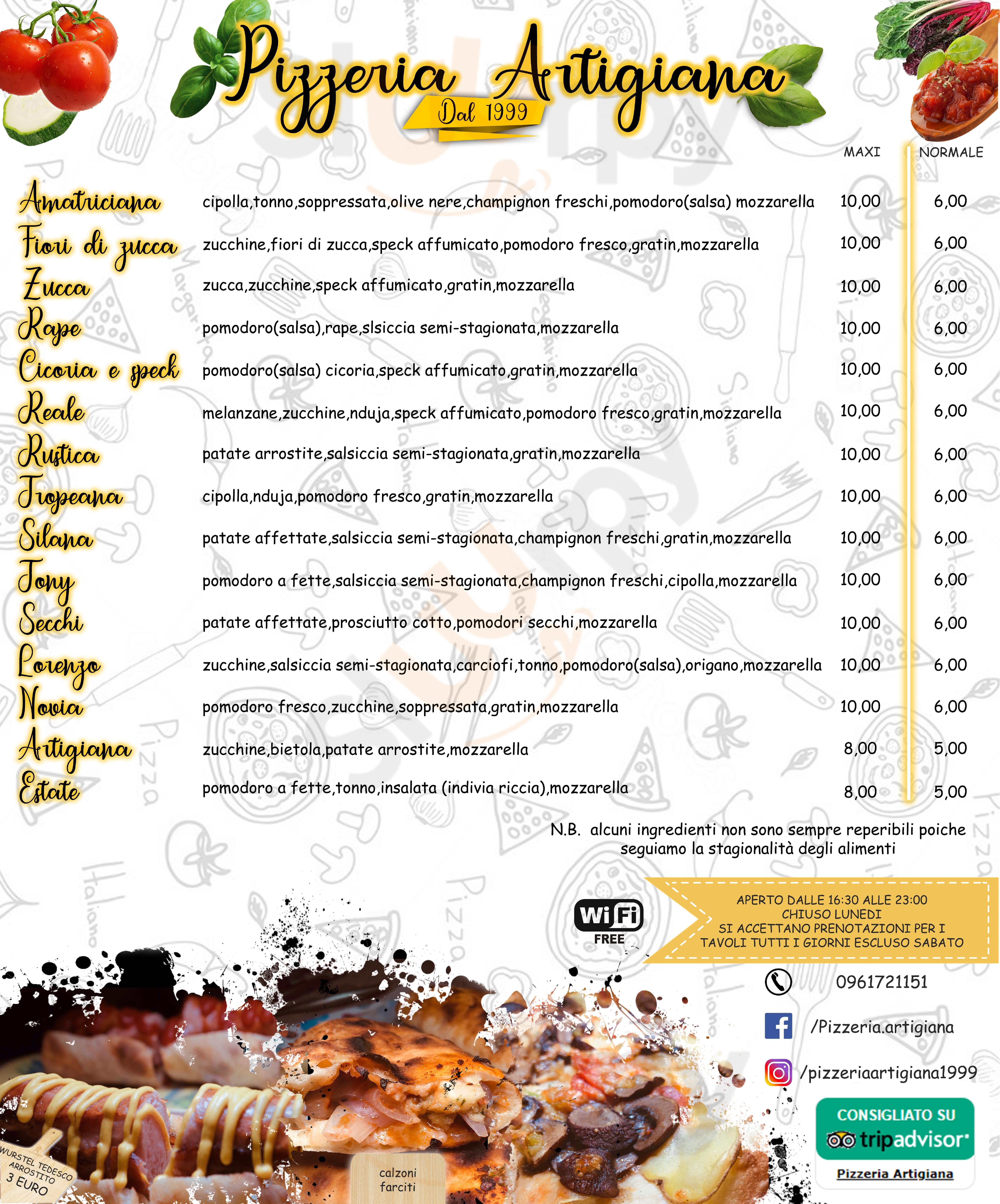 Pizzeria Artigiana Catanzaro menù 1 pagina