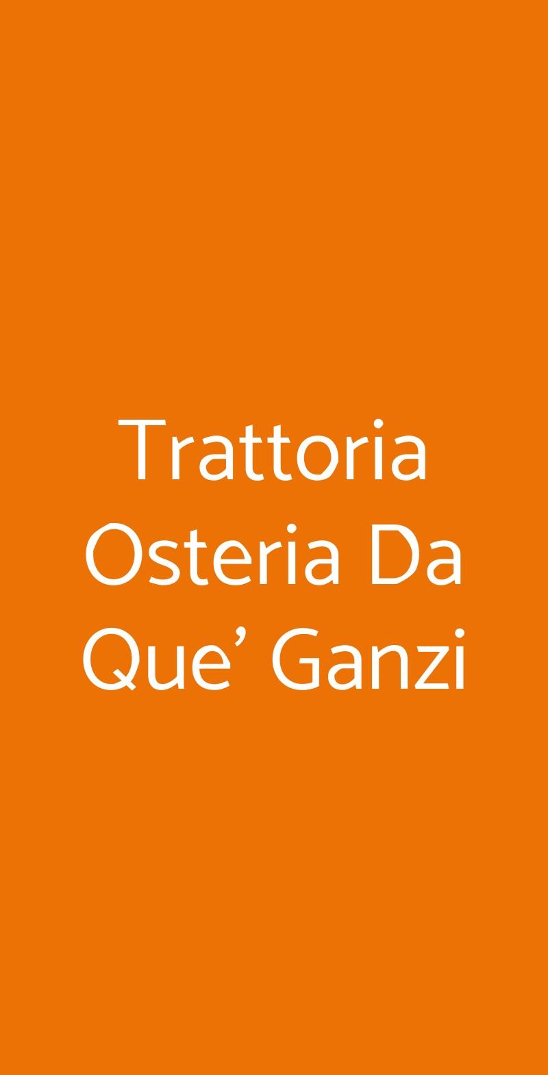 Trattoria Osteria Da Que' Ganzi Firenze menù 1 pagina
