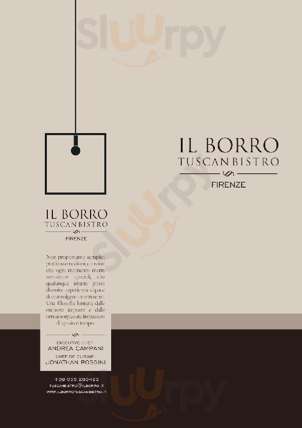 Il Borro Tuscan Bistro Firenze menù 1 pagina