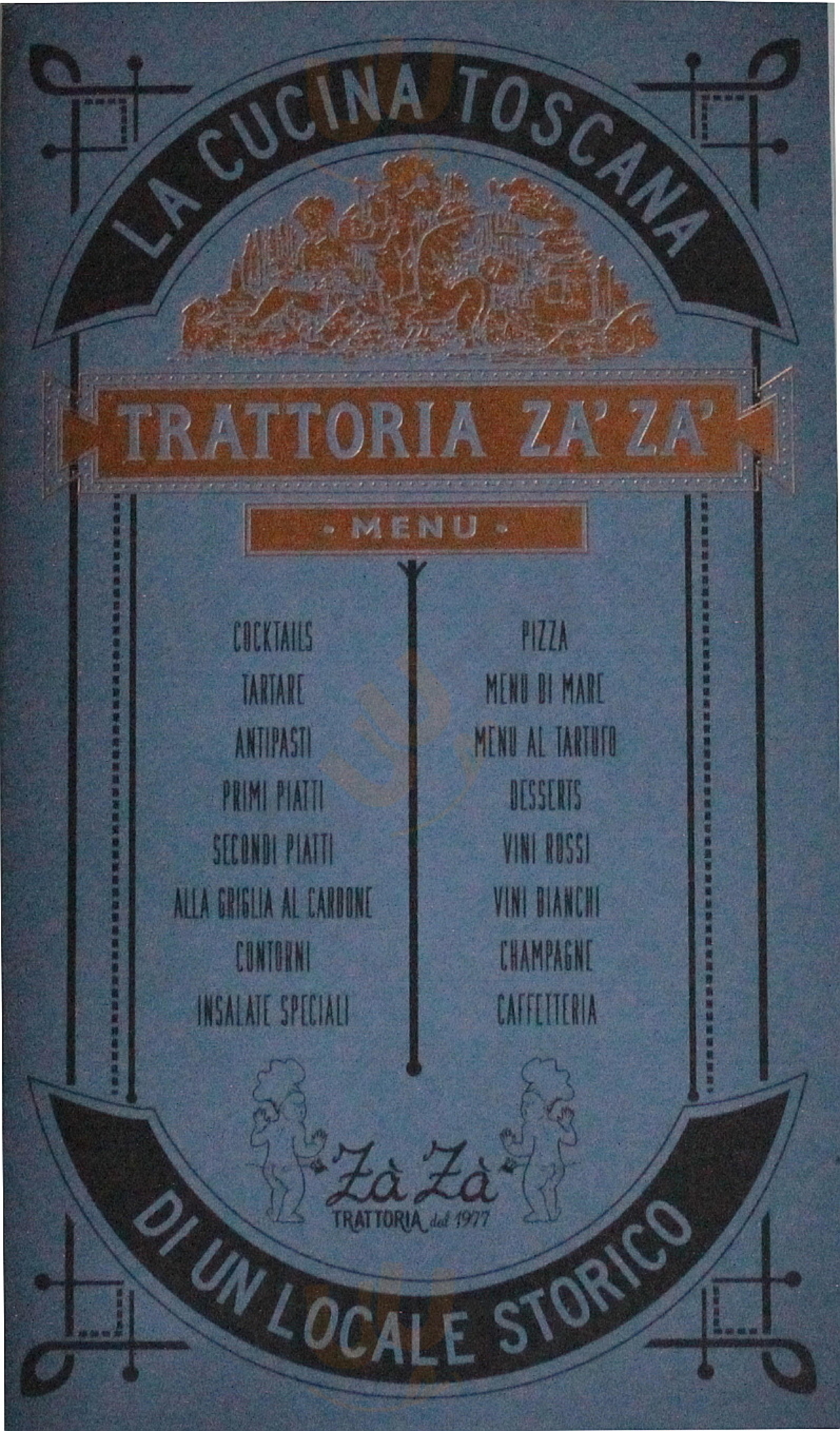 Trattoria Zà Zà Firenze menù 1 pagina