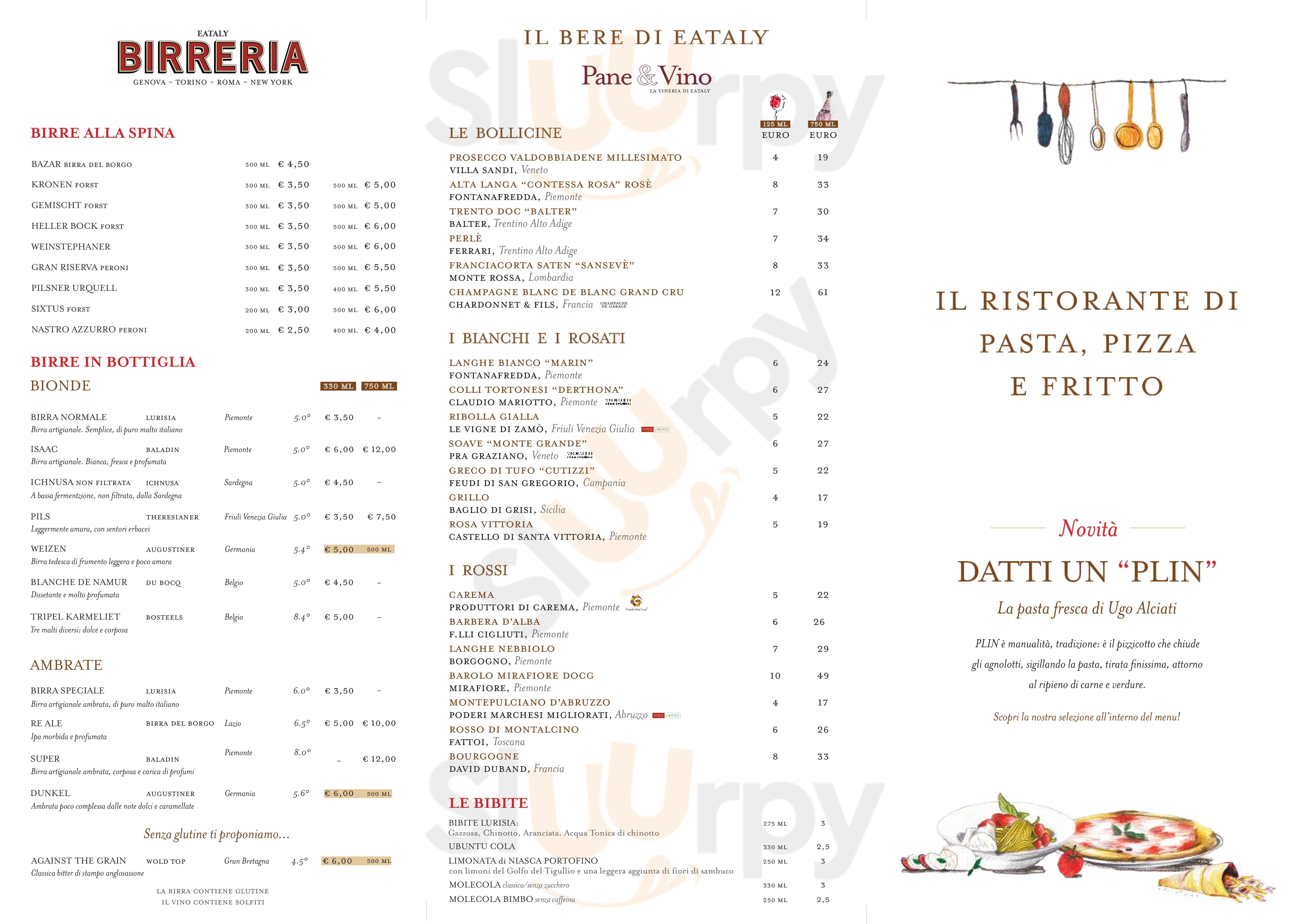 Eataly Lingotto Torino menù 1 pagina