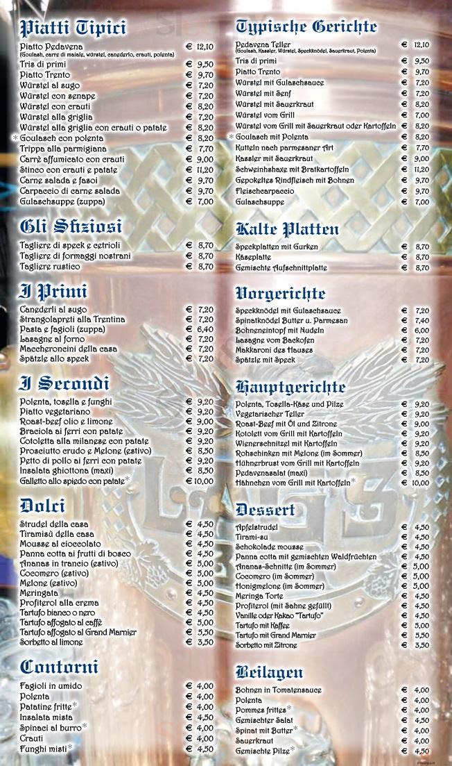 PEDAVENA Trento menù 1 pagina