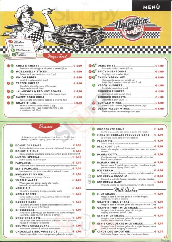 America Graffiti Diner Restaurant -  - Borgo Panigale Bologna menù 1 pagina