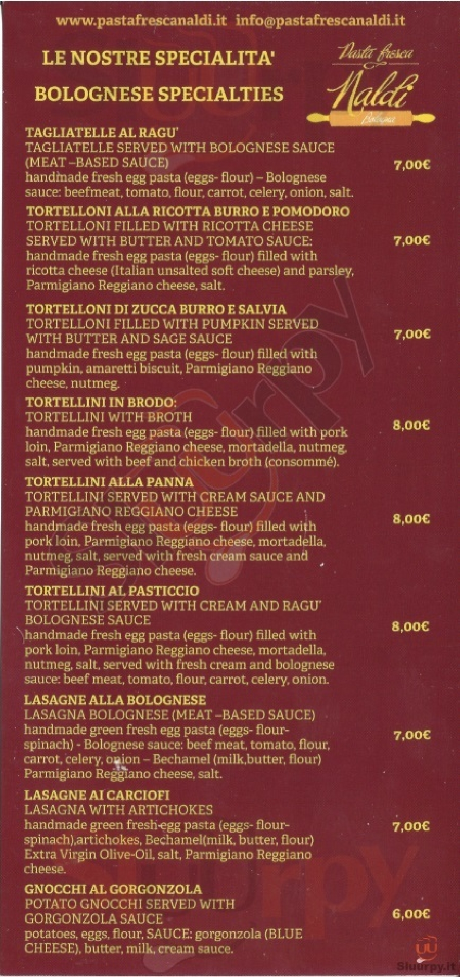 Pasta fresca Naldi Bologna menù 1 pagina