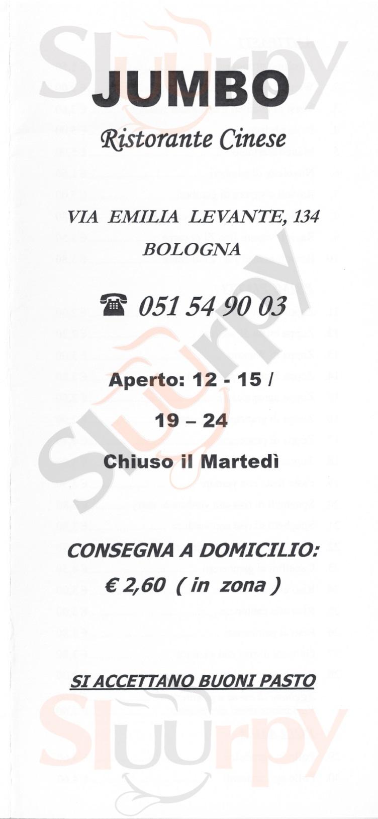 Jumbo Bologna menù 1 pagina