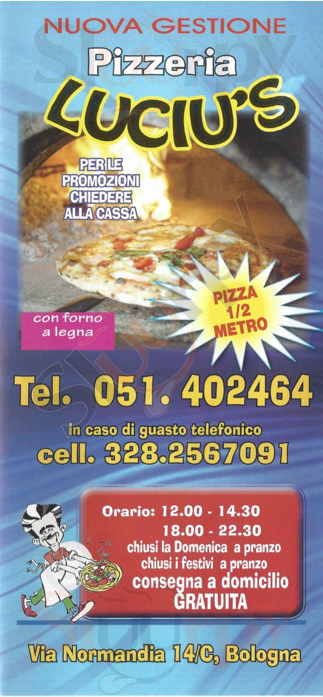 LUCIU'S Bologna menù 1 pagina
