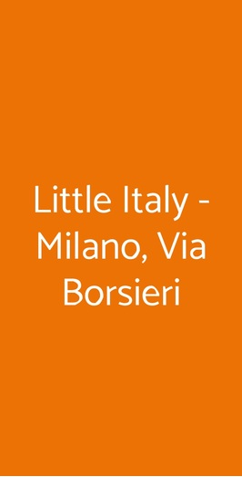 Little Italy, Milano