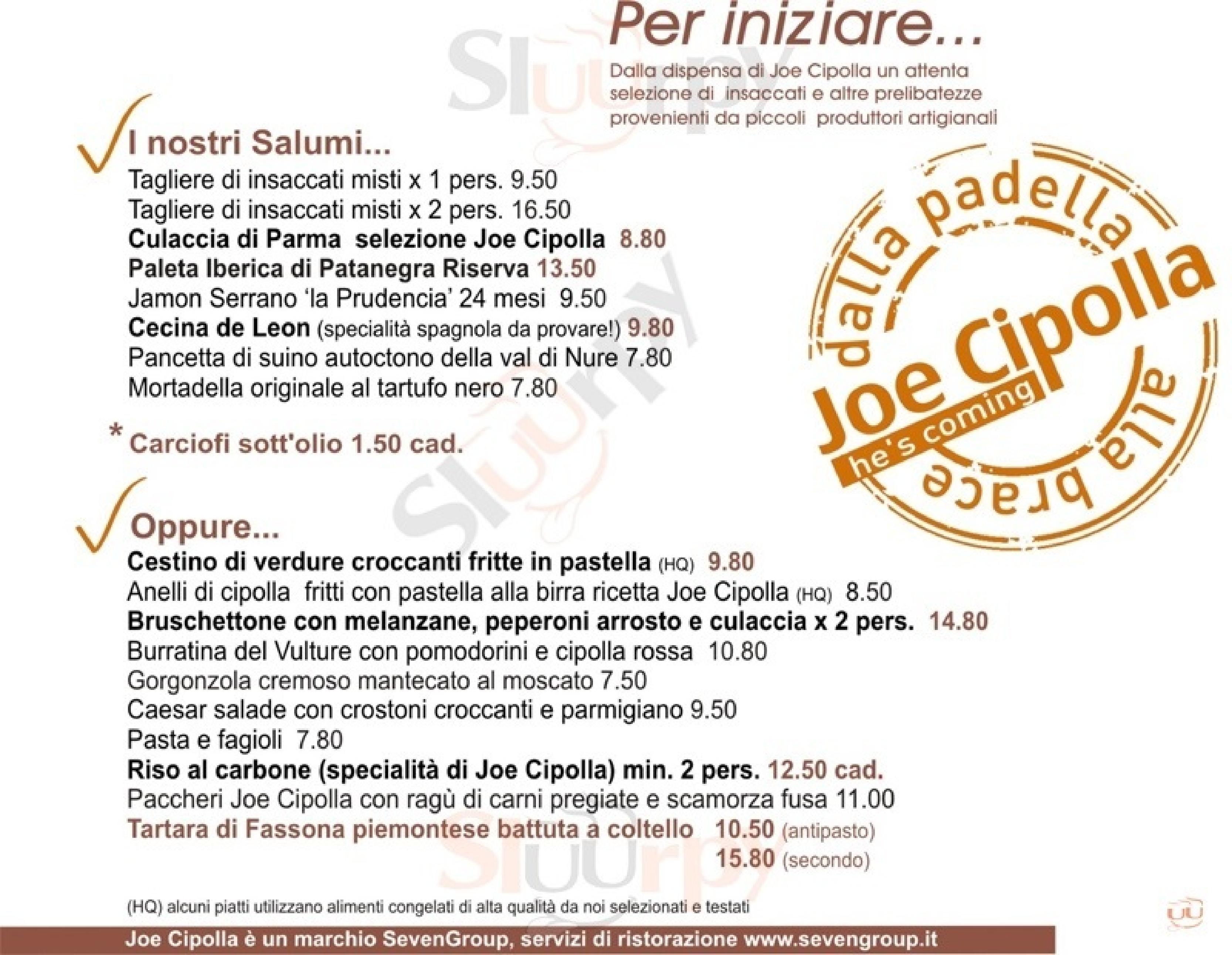 Joe Cipolla Milano menù 1 pagina