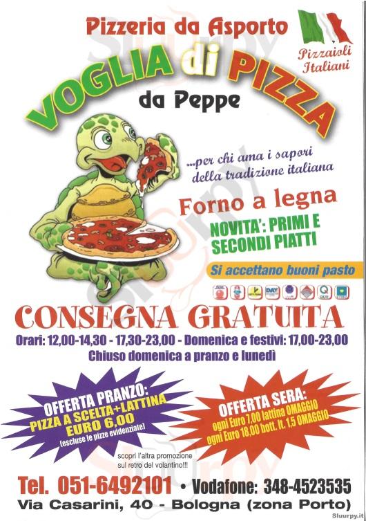 VOGLIA DI PIZZA Bologna menù 1 pagina