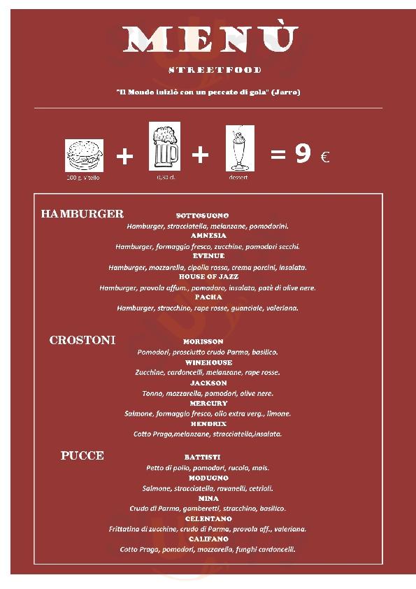 Sottosuono music and food Andria menù 1 pagina