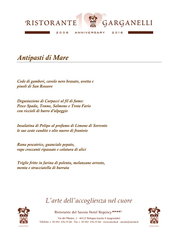 Garganelli Bologna menù 1 pagina