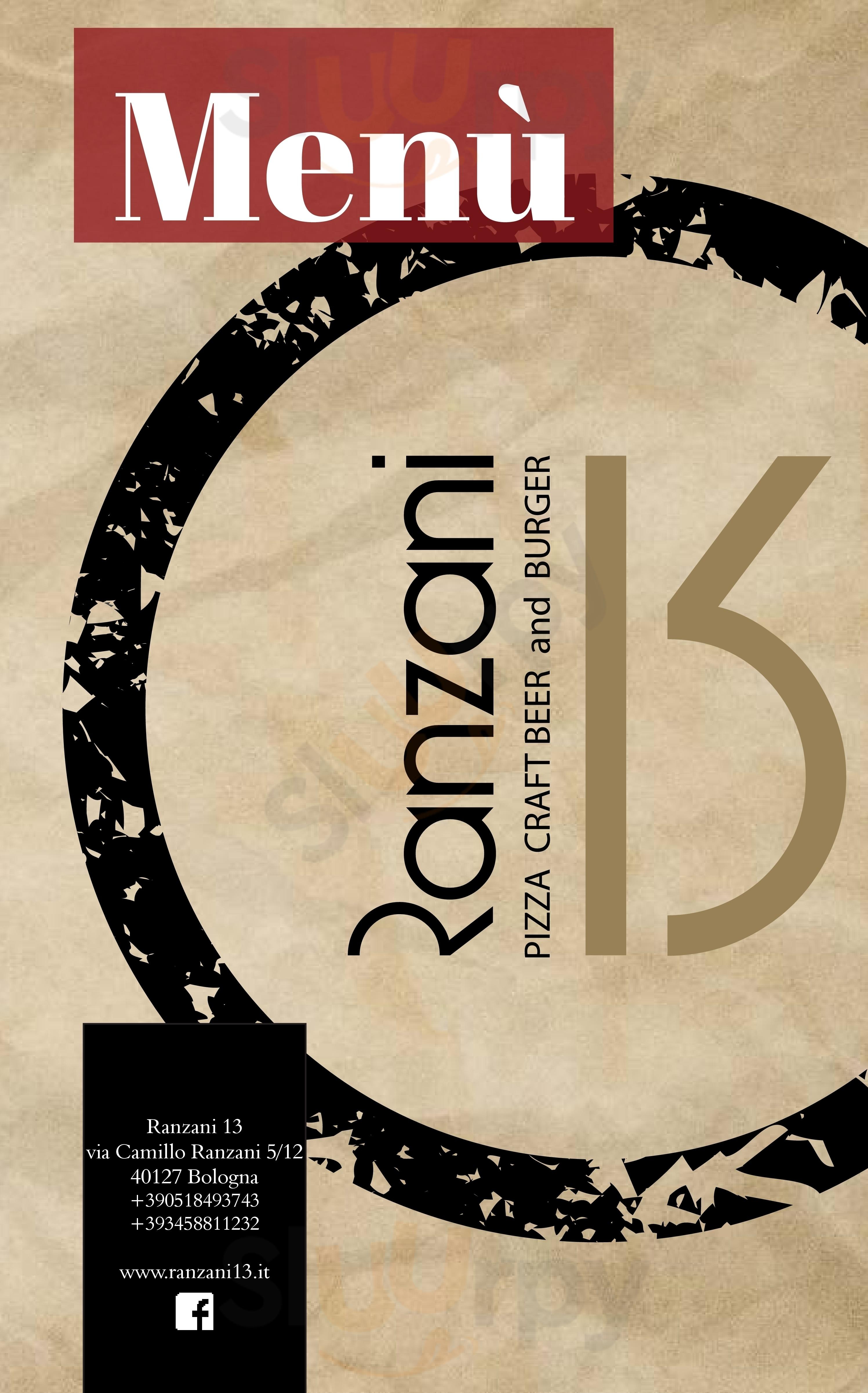 Ranzani 13 Bologna menù 1 pagina