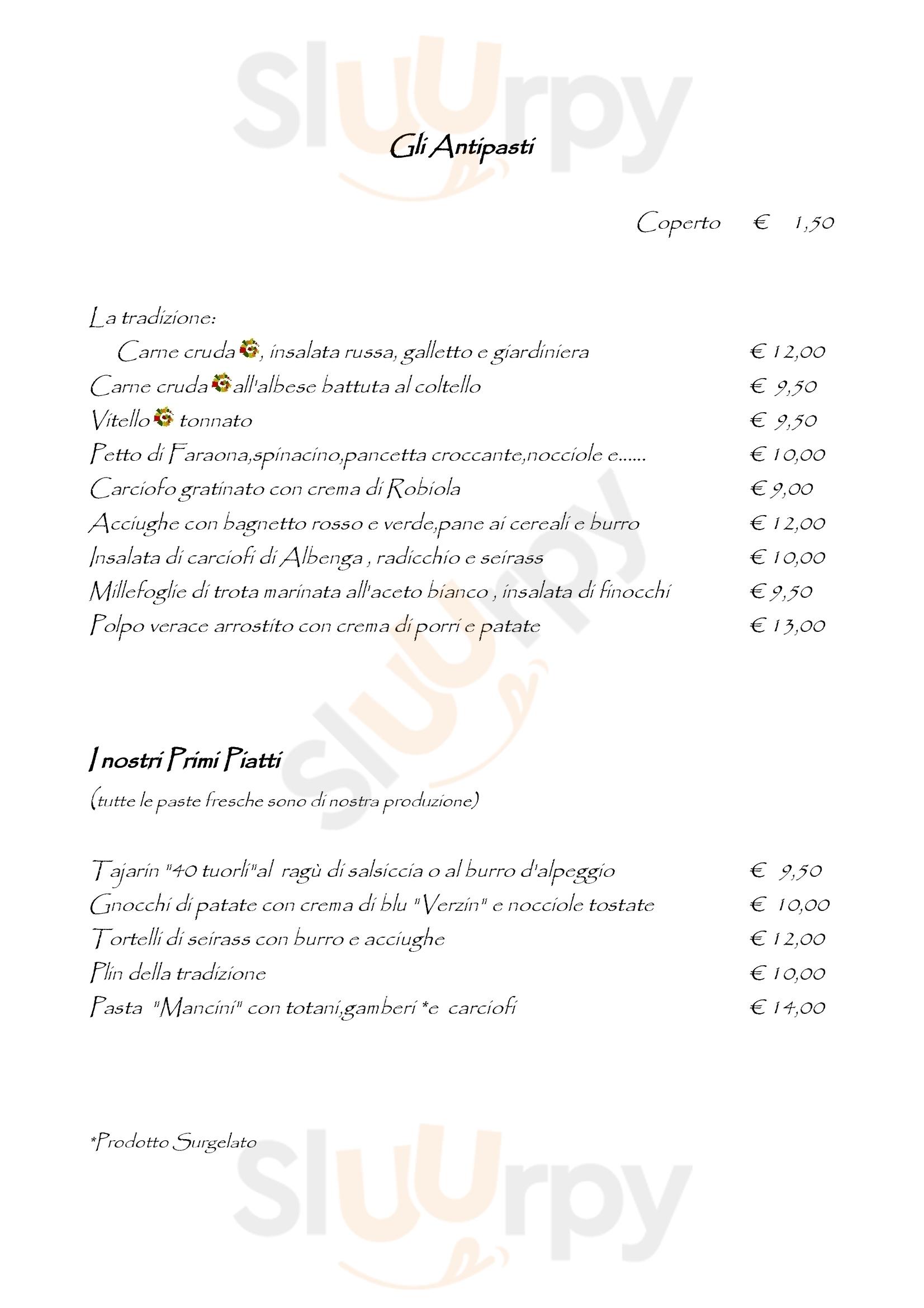 Osteria dell'Arco Alba menù 1 pagina