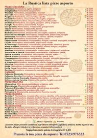 Menu Trattoria Pizzeria La Rustica