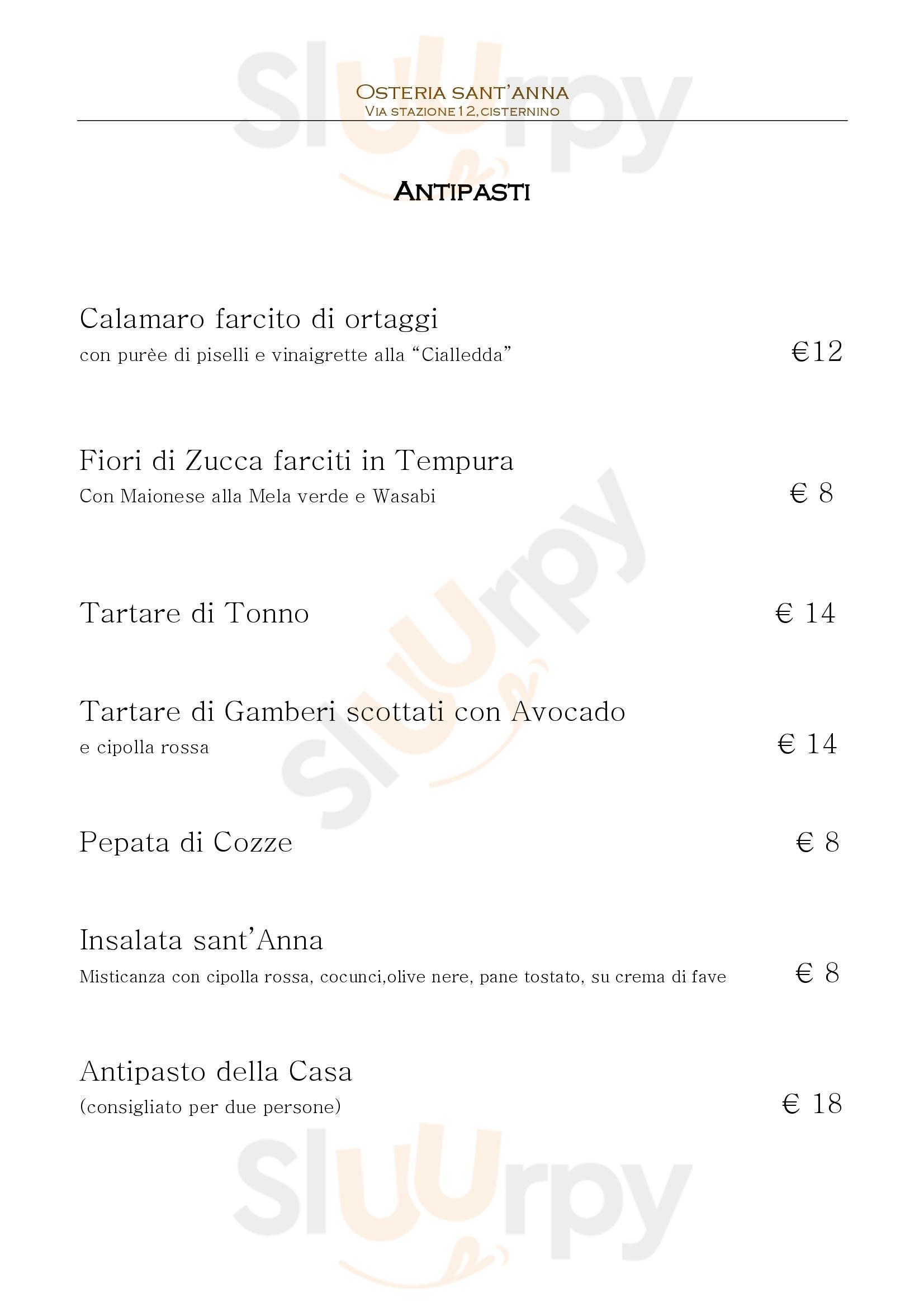 Osteria Sant'Anna Cisternino menù 1 pagina