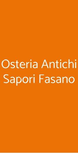 Osteria Antichi Sapori Fasano, Fasano