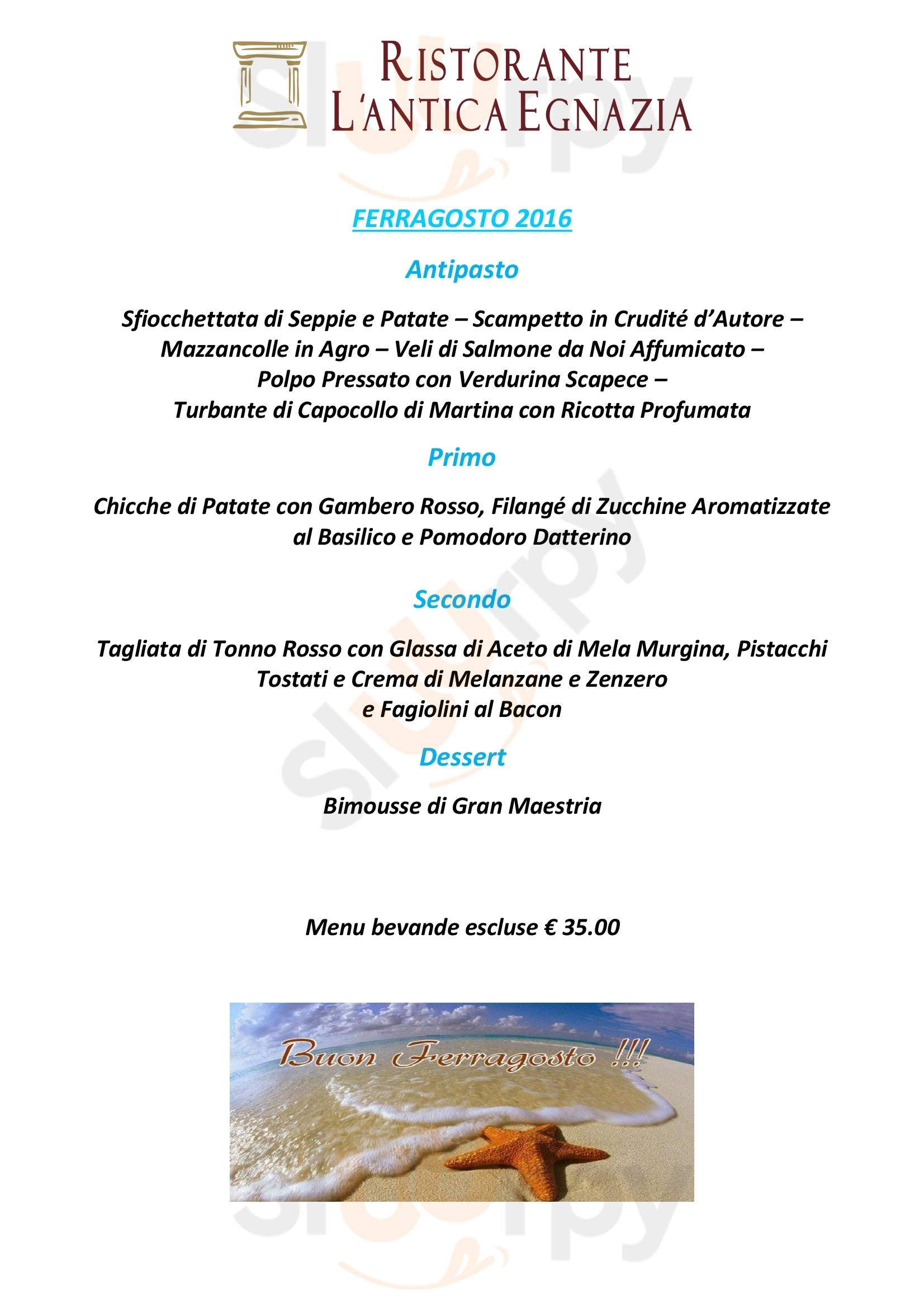 L'Antica Egnazia Fasano menù 1 pagina