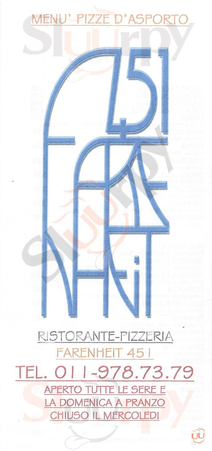 FARENHEIT 451 Alpignano menù 1 pagina