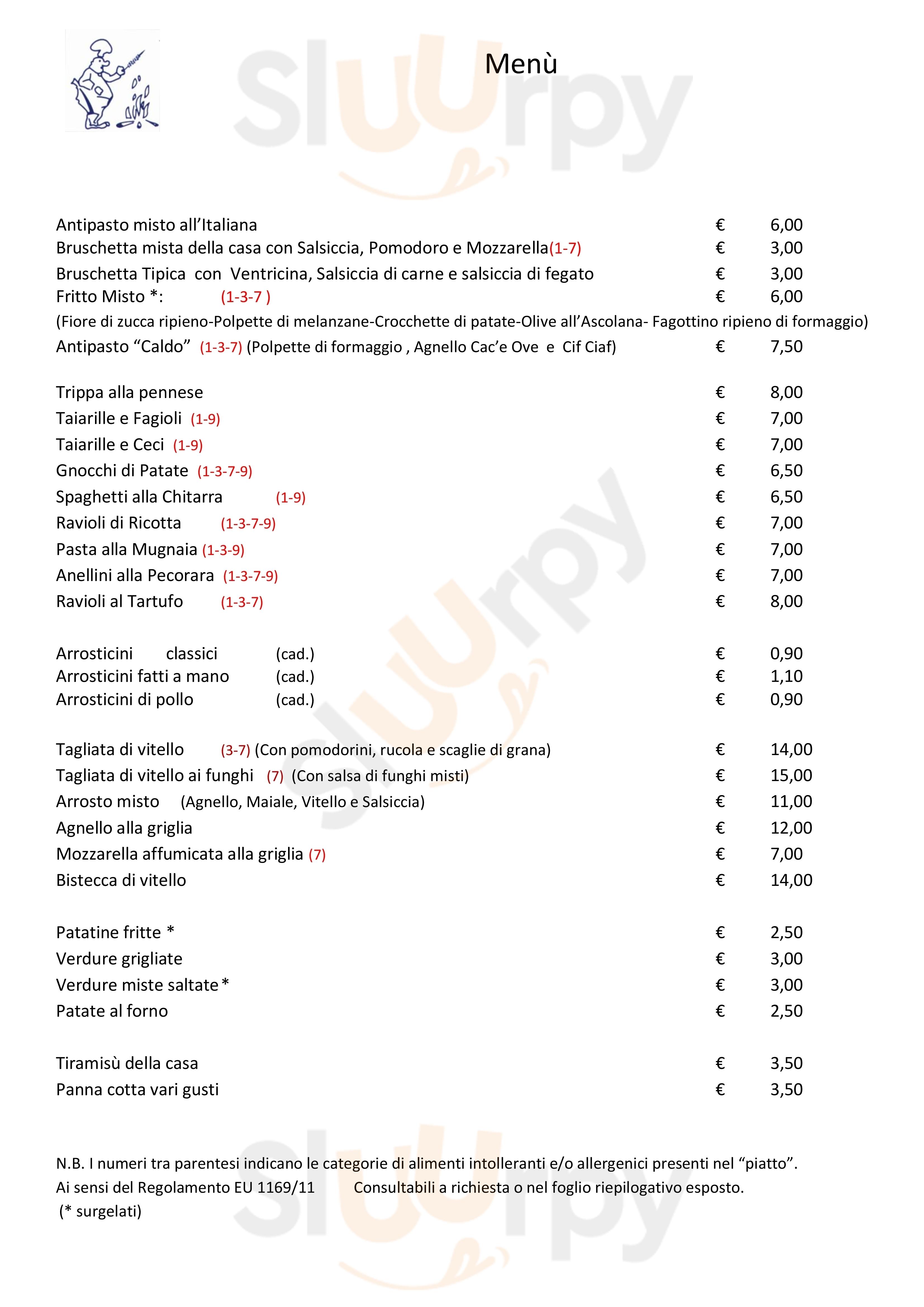 Ristorante Hostaria Vestina Montesilvano menù 1 pagina