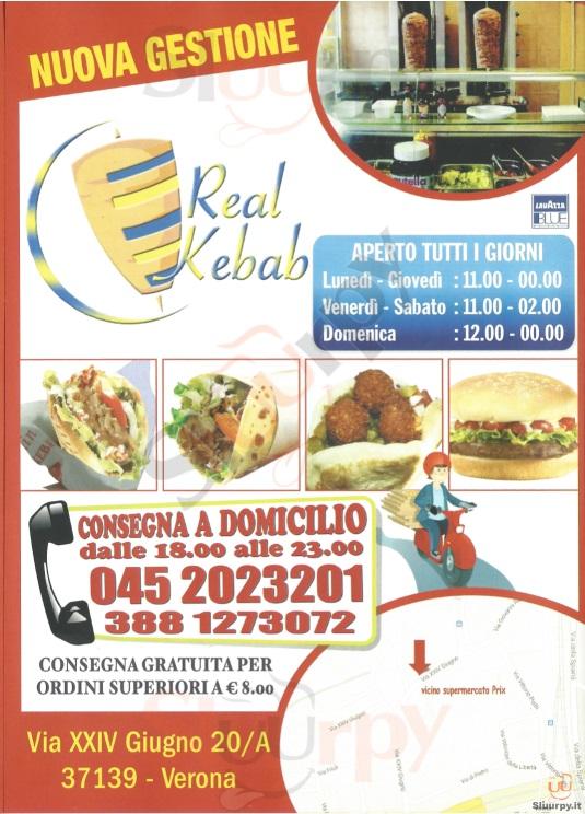 REAL KEBAB Verona menù 1 pagina