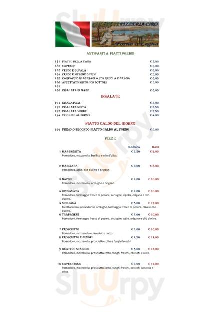 Menu Pizzeria Ciro