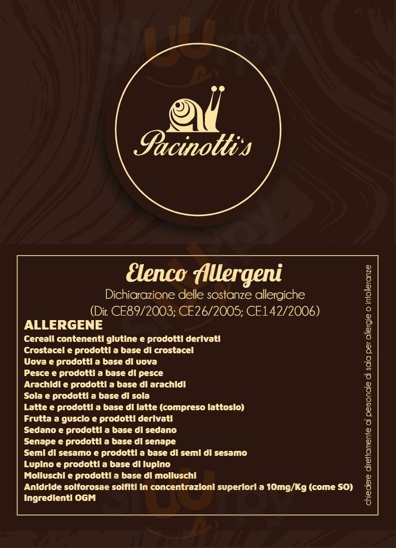 Pacinotti's Palermo menù 1 pagina