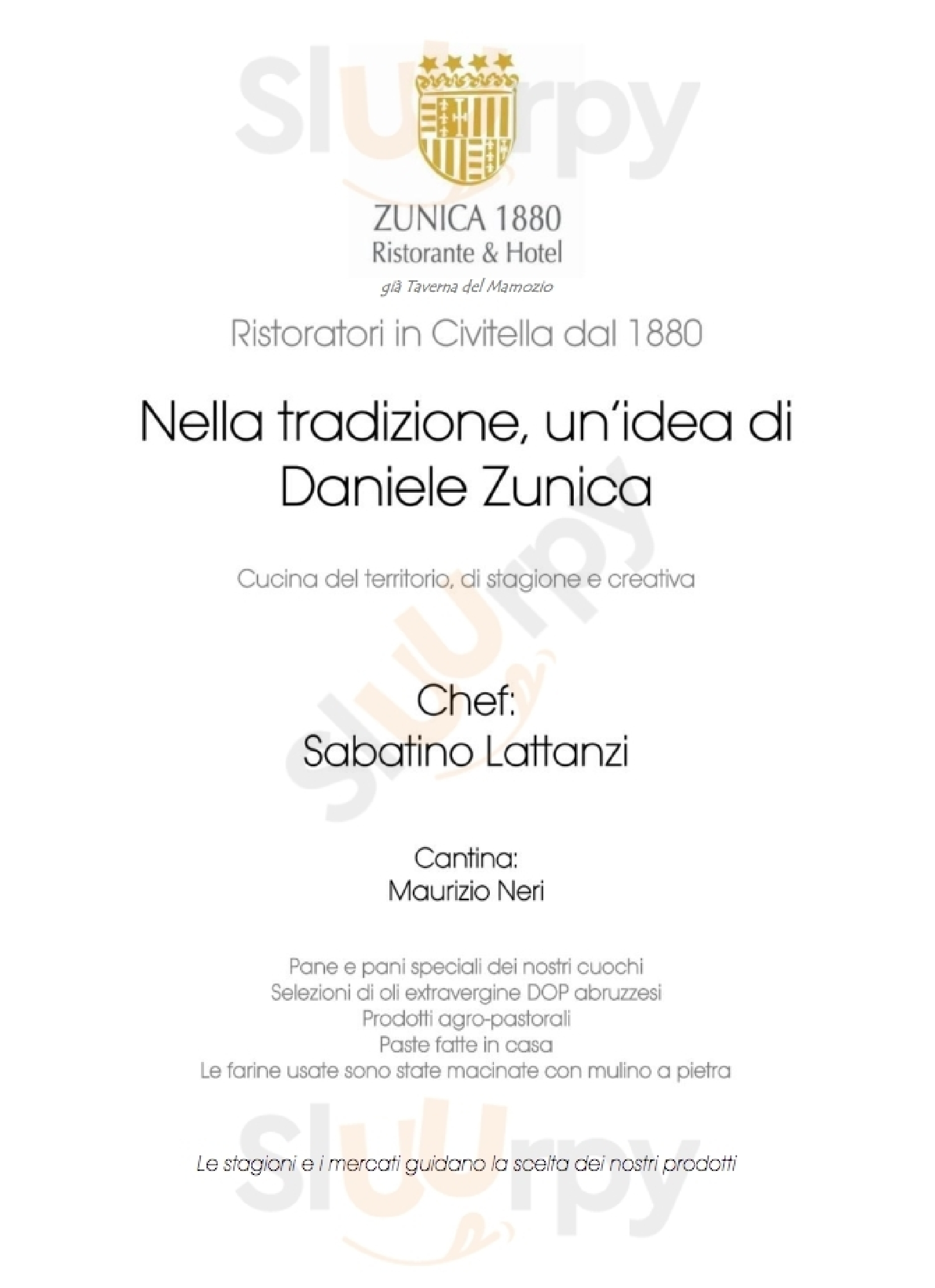 Ristorante Zunica 1880 Civitella del Tronto menù 1 pagina
