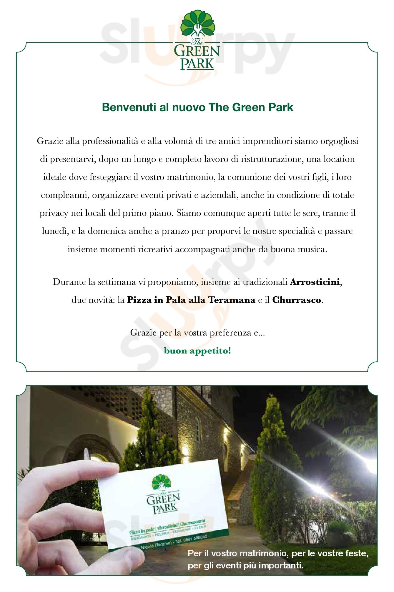 The Green Park Teramo menù 1 pagina