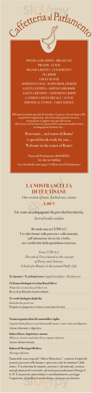 Caffetteria Al Parlamento Roma menù 1 pagina