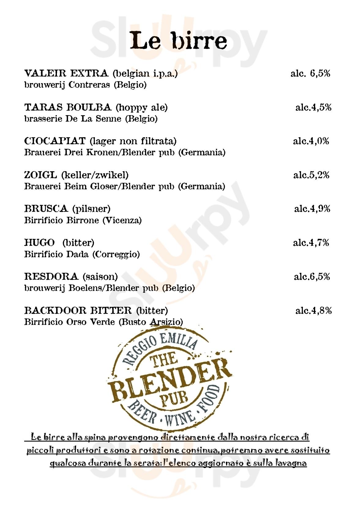 The Blender Pub Reggio Emilia menù 1 pagina