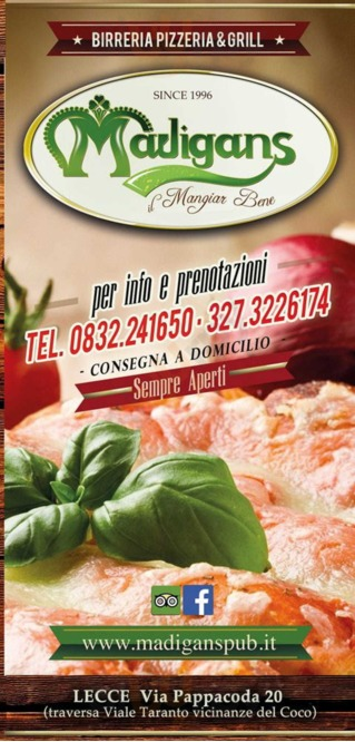 Menu Madigans Pub - Restaurant - Grill