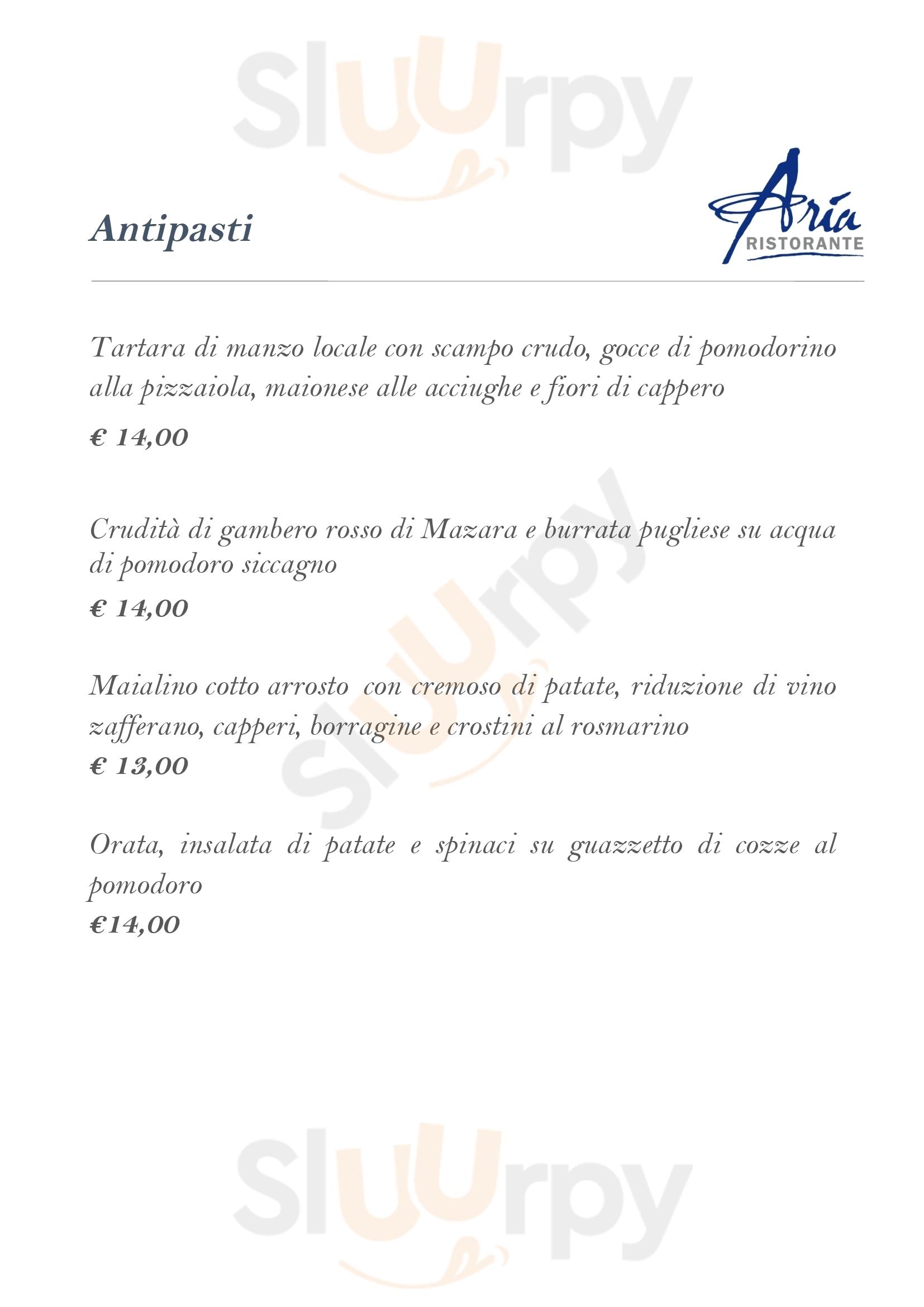 Aria Ristorante Caltanissetta menù 1 pagina