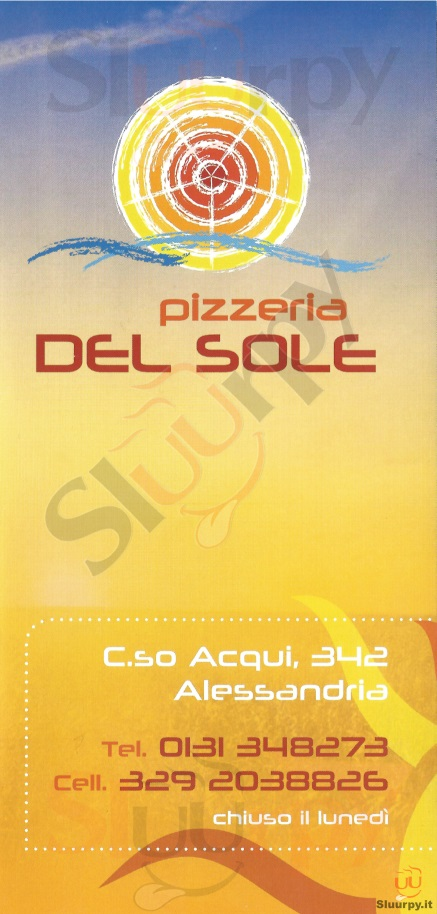 DEL SOLE Alessandria menù 1 pagina