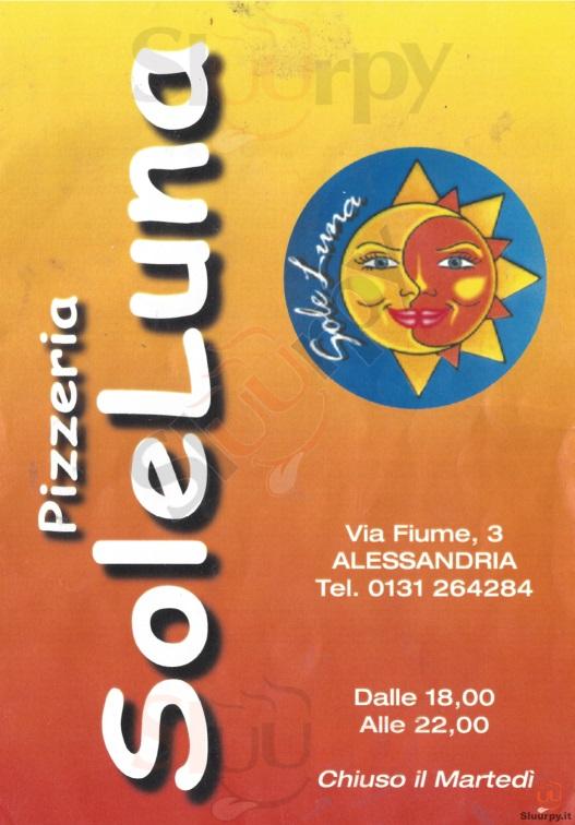 SOLELUNA Alessandria menù 1 pagina