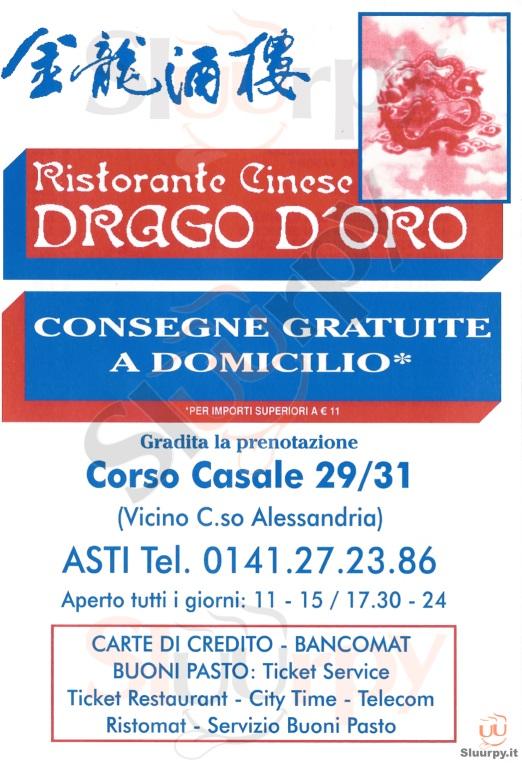DRAGO D'ORO Asti menù 1 pagina