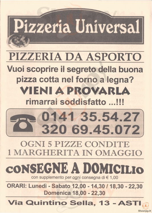 UNIVERSAL Asti menù 1 pagina
