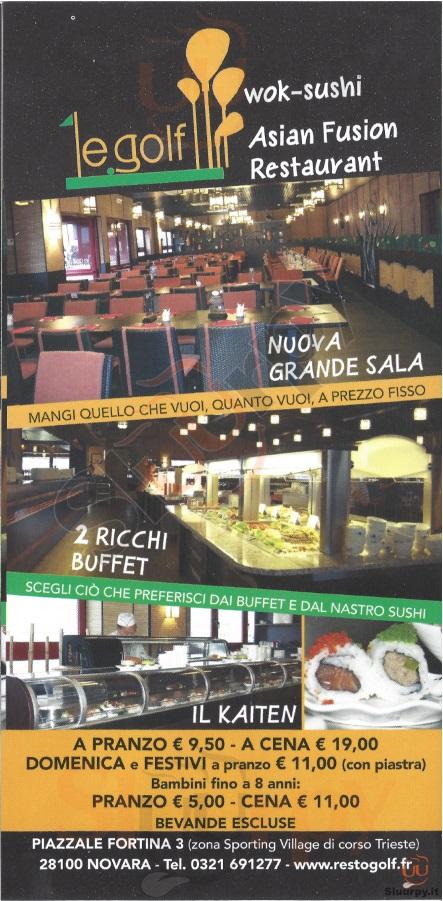 LE GOLF Novara menù 1 pagina