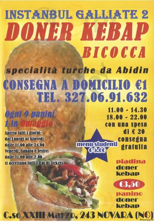 INSTANBUL GALLIATE 2 Novara menù 1 pagina