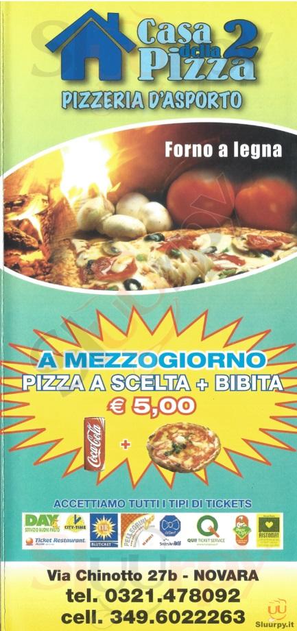 CASA DELLA PIZZA 2 Novara menù 1 pagina