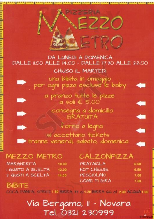 MEZZO METRO Novara menù 1 pagina