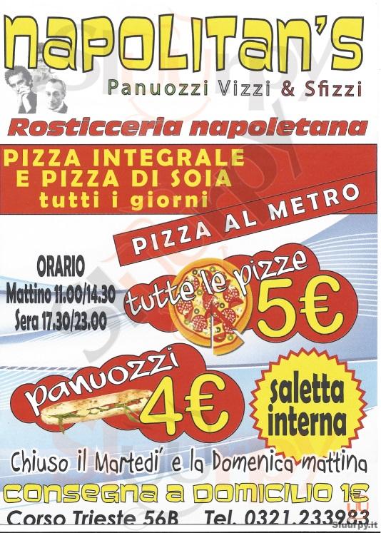 NAPOLITAN'S Novara menù 1 pagina