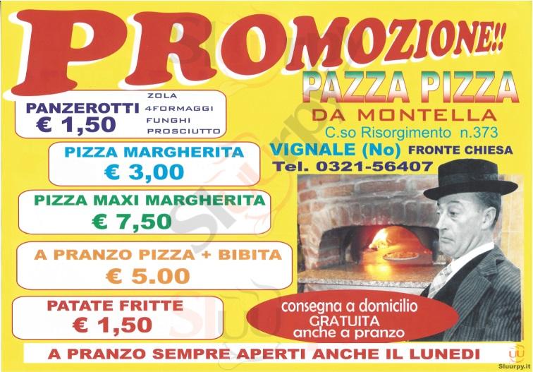 PAZZA PIZZA Novara menù 1 pagina