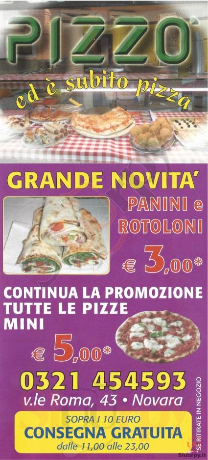 PIZZO' Novara menù 1 pagina