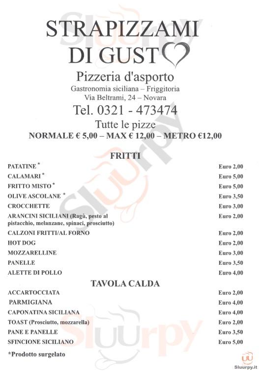 STRAPIZZAMI DI GUSTO Novara menù 1 pagina