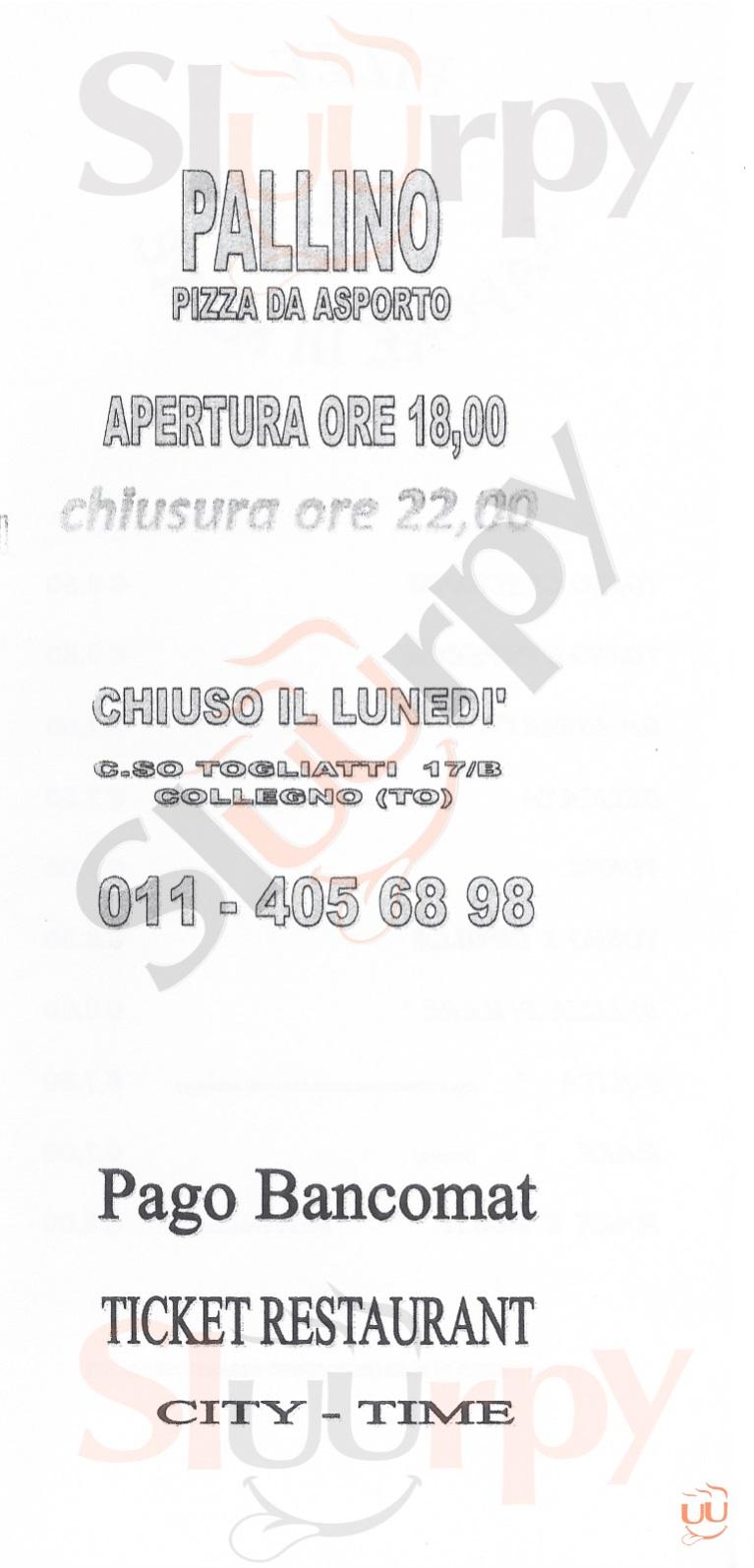 PALLINO Collegno menù 1 pagina