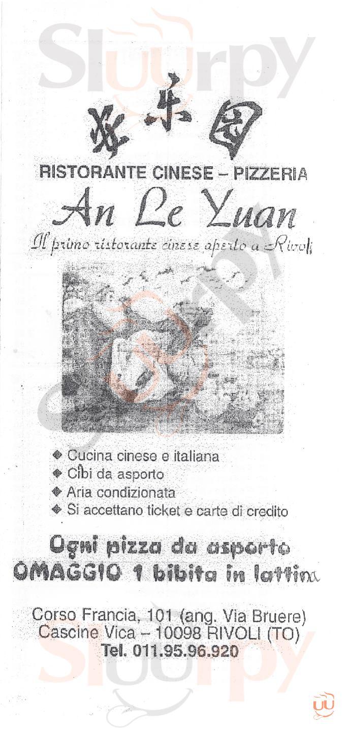AN LE YUAN Rivoli menù 1 pagina