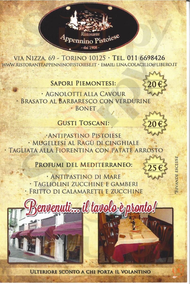APPENNINO PISTOIESE Torino menù 1 pagina
